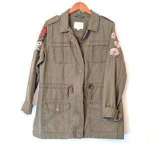 a new day Jacket Military Embroidered Floral Large